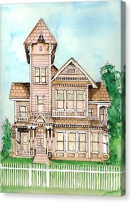 Rose Victorian Inn - Arroyo Grande Ca 1886 Canvas Print by Arline Wagner