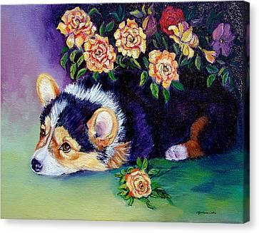 Roses - Pembroke Welsh Corgi Canvas Print by Lyn Cook