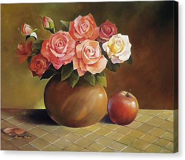 Roses And Apple Canvas Print by Han Choi - Printscapes