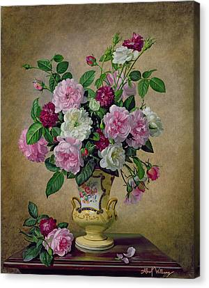 Roses And Dahlias In A Ceramic Vase Canvas Print by Albert Williams