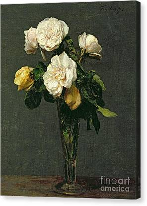 Roses In A Champagne Flute Canvas Print by Ignace Henri Jean Fantin-Latour