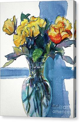 Roses In Vase Still Life I Canvas Print by Kathy Braud