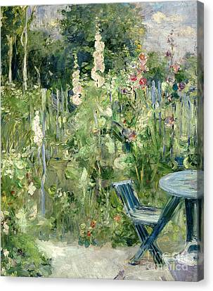 Roses Tremieres Canvas Print by Berthe Morisot