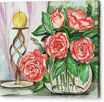 Roses With Candle Stand  Canvas Print by Pushpa Sharma