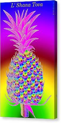 Rosh Hashanah Pineapple Canvas Print by Eric Edelman