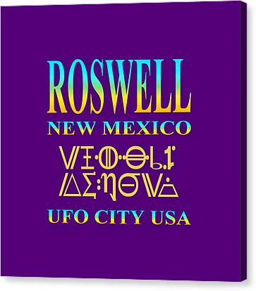 Roswell New Mexico - Ufo Tshirt Design Canvas Print by Art America Online Gallery