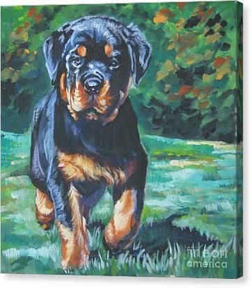 Rottweiler Pup Canvas Print by Lee Ann Shepard