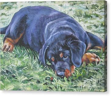 Rottweiler Puppy Canvas Print by Lee Ann Shepard