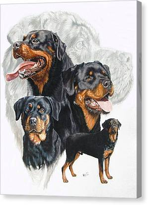 Rottweiler W/ghost  Canvas Print by Barbara Keith