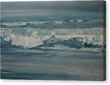 Rough Surf Canvas Print by Amy Bernays