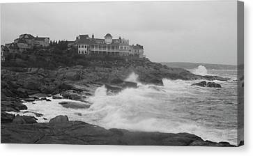Rough Water At Nubble York Me Canvas Print by Imagery-at- Work
