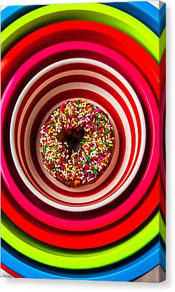 Round Bowl With Donut Canvas Print by Garry Gay