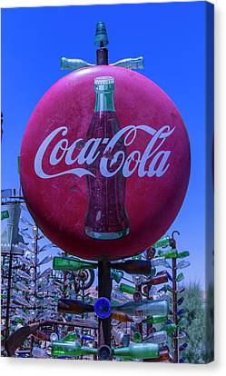 Round Coca Cola Sign Canvas Print by Garry Gay
