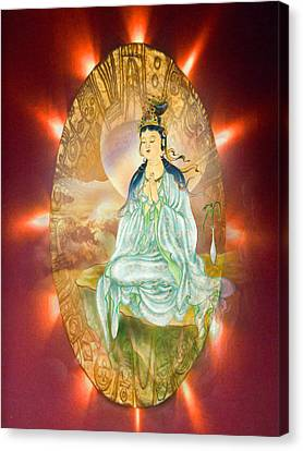 Round Halo Kuan Yin Canvas Print by Lanjee Chee