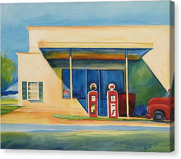 Round Rock Gas Station Canvas Print by Janet Oh