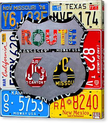 Route 66 Highway Road Sign License Plate Art Canvas Print by Design Turnpike