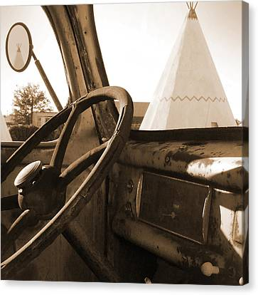 Route 66 - Parking At The Wigwam Canvas Print by Mike McGlothlen