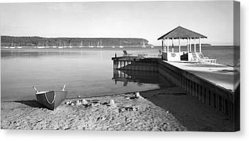 Row Boat And Dock At Ephriam Canvas Print by Stephen Mack