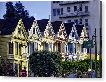 Row Of Painted Ladies Sf Canvas Print by Garry Gay