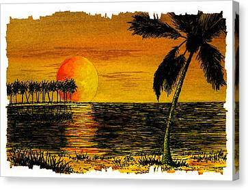 Row Of Palm Trees Canvas Print by Michael Vigliotti