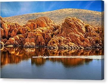 Rowboating In Peaceful Watson Lake - Arizona Canvas Print by Susan Schmitz