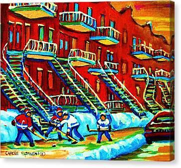 Rowhouses And Hockey Canvas Print by Carole Spandau