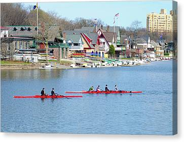Rowing Along The Schuylkill River Canvas Print by Bill Cannon