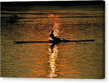 Rowing At Sunset 3 Canvas Print by Bill Cannon