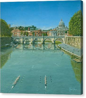 Rowing On The Tiber Rome Canvas Print by Richard Harpum