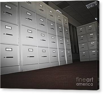 Rows Of Filing Cabinets Canvas Print by Jetta Productions, Inc