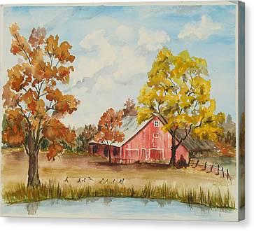 Rt 66 Barn In Bristow Oklahoma Canvas Print by Judy Loper