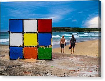 Rubiks Cube No Mystery For Surfer Boys Canvas Print by Paul Donohoe