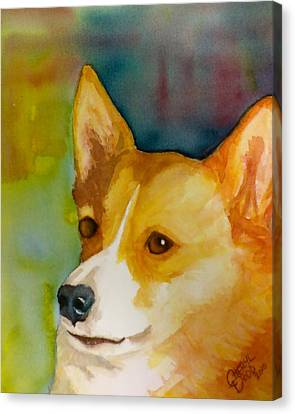 Ruby The Corgi Canvas Print by Cheryl Dodd