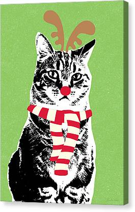 Rudolph The Red Nosed Cat- Art By Linda Woods Canvas Print by Linda Woods