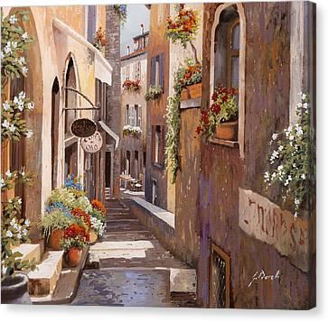 Rue Du Bresc In St Paul De Vence Canvas Print by Guido Borelli