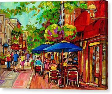 Rue Prince Arthur Montreal Canvas Print by Carole Spandau