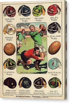 Rugby - Football Caps Canvas Print by Roberto Prusso