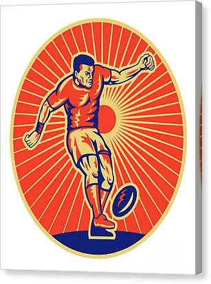 Rugby Player Kicking Ball Woodcut Canvas Print by Aloysius Patrimonio