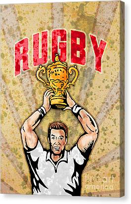 Rugby Player Raising Championship World Cup Trophy Canvas Print by Aloysius Patrimonio