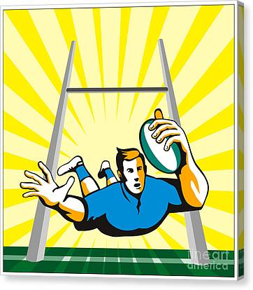 Rugby Player Try Canvas Print by Aloysius Patrimonio