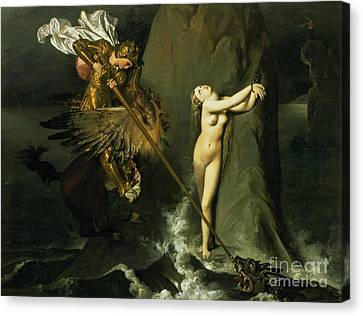 Ruggiero Rescuing Angelica Canvas Print by Ingres