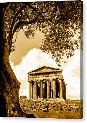 Ruins Of Ancient Agrigento Canvas Print by Mark E Tisdale