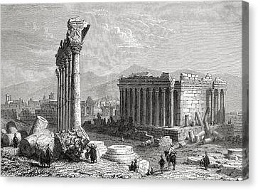 Ruins Of Baalbek, Lebanon, As Seen In Canvas Print by Vintage Design Pics