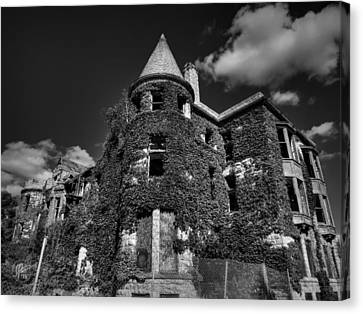 Ruins Of Detroit 001 Bw Canvas Print by Lance Vaughn