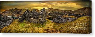 Ruins Of Snowdonia Panorama Canvas Print by Adrian Evans