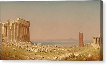 Ruins Of The Parthenon Canvas Print by Sanford Robinson Gifford