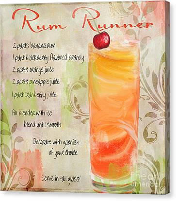 Rum Runner Mixed Cocktail Recipe Sign Canvas Print by Mindy Sommers
