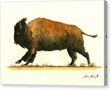 Running American Buffalo Canvas Print by Juan  Bosco