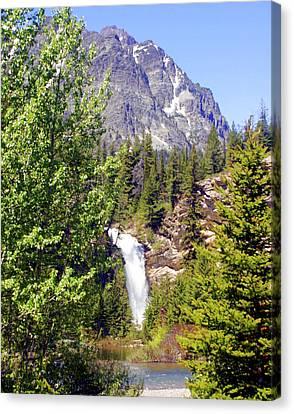 Running Eagle Falls Glacier National Park Canvas Print by Marty Koch