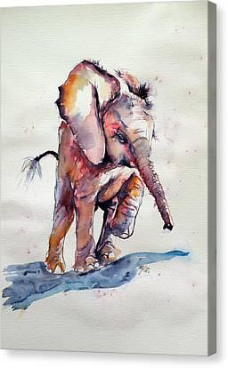 Running Elephant Baby Canvas Print by Kovacs Anna Brigitta